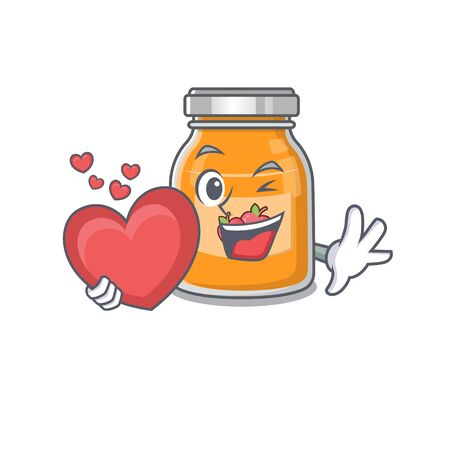 Romantic apple jam cartoon picture holding a heart