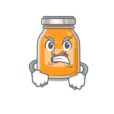 Apple jam cartoon character style having angry face. Vector illustration