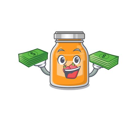 cool rich apple jam character having money on hands 向量圖像