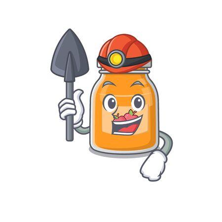 Cool clever Miner apple jam cartoon character design