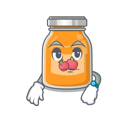 cartoon character design of apple jam on a waiting gesture 向量圖像