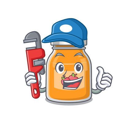A cute picture of apple jam working as a Plumber 向量圖像