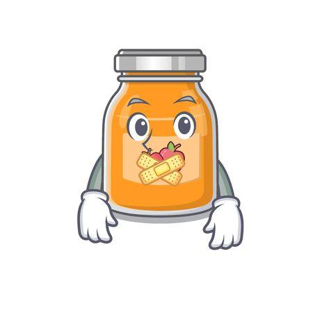 cartoon character design apple jam making a silent gesture