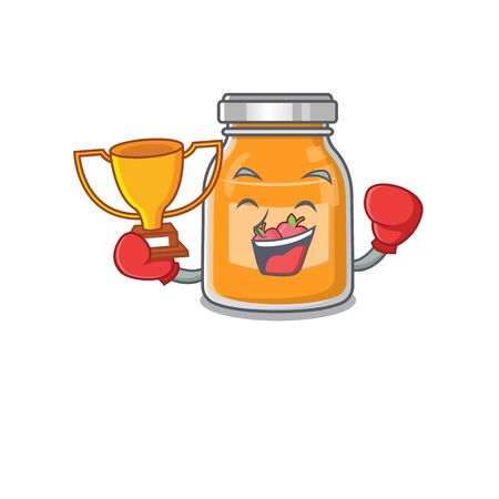 fantastic Boxing winner of apple jam in mascot cartoon design Illustration