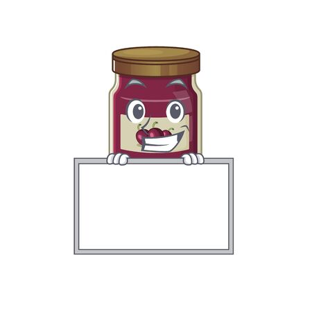 Plum jam cartoon design concept grinning with board