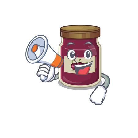 A mascot of plum jam speaking on a megaphone Banque d'images - 140535267