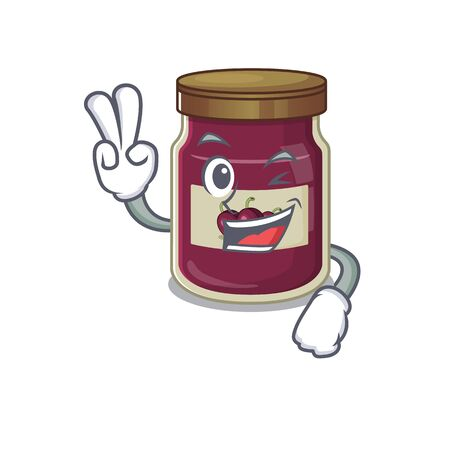 mascot of funny plum jam cartoon Character with two fingers