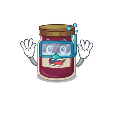 cartoon character of plum jam wearing Diving glasses