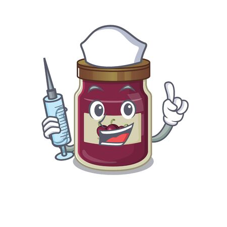 A Plum jam hospitable Nurse character with a syringe