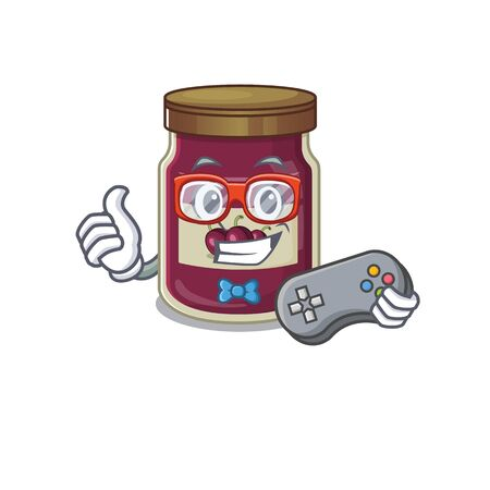 Smiley gamer plum jam cartoon mascot style