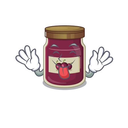 Funny plum jam mascot design with Tongue out