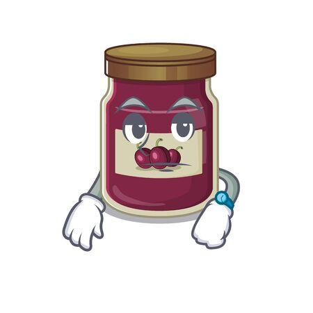 cartoon character design of plum jam on a waiting gesture Banco de Imagens - 140534138