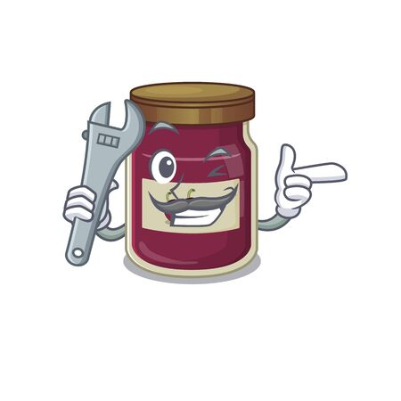 Smart Mechanic plum jam cartoon character design