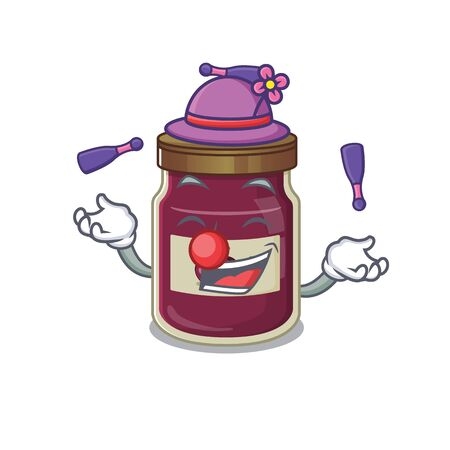 a lively plum jam cartoon character design playing Juggling