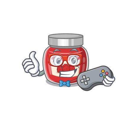 Smiley gamer raspberry jam cartoon mascot style
