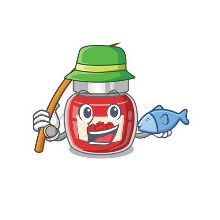 A Picture of happy Fishing raspberry jam design Ilustração