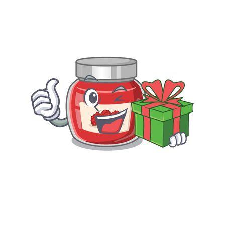 Happy raspberry jam character having a gift box
