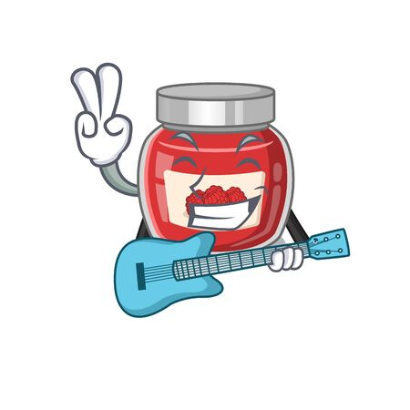 A picture of raspberry jam playing a guitar