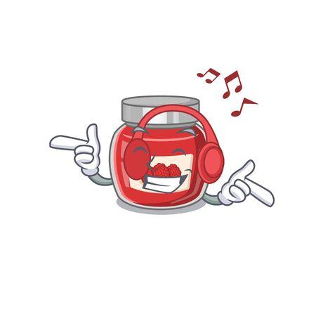 Listening music raspberry jam cartoon character concept Ilustração