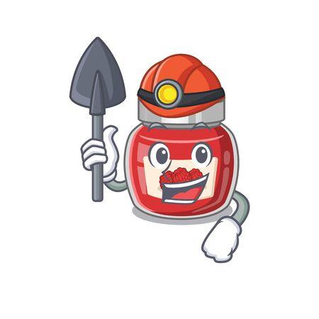 Cool clever Miner raspberry jam cartoon character design