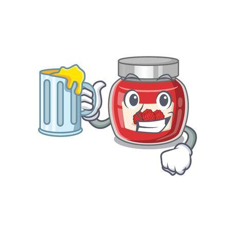Smiley raspberry jam mascot design with a big glass Ilustração