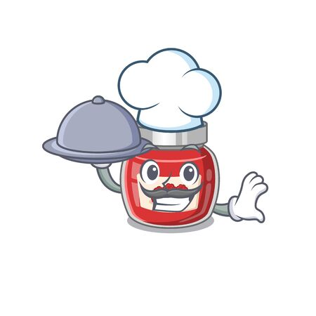A picture of raspberry jam as a Chef serving food on tray