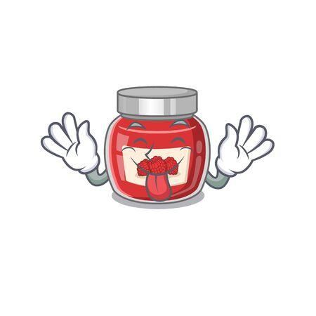 Funny raspberry jam mascot design with Tongue out Ilustração