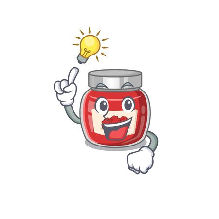 a clever raspberry jam cartoon character style have an idea gesture
