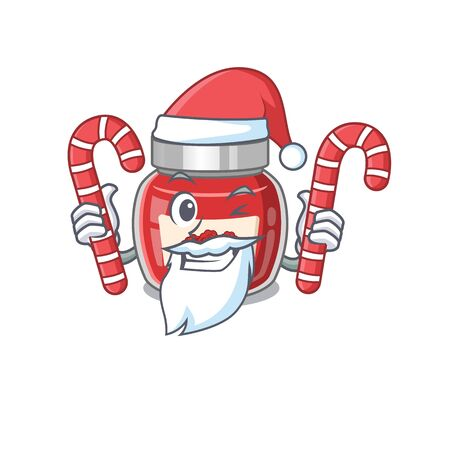 Raspberry jam Cartoon character wearing Santa costume bringing a candy