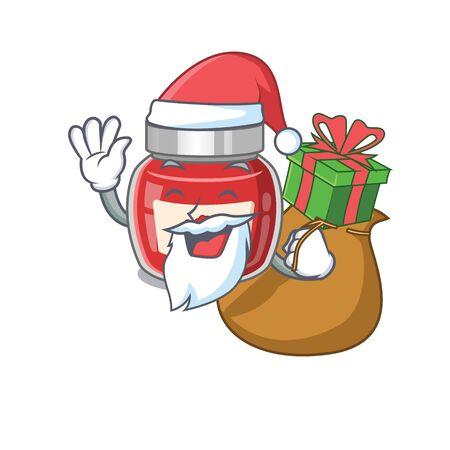Santa raspberry jam Cartoon character design having box of gifts