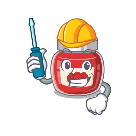 cartoon character style raspberry jam working as an automotive Ilustração