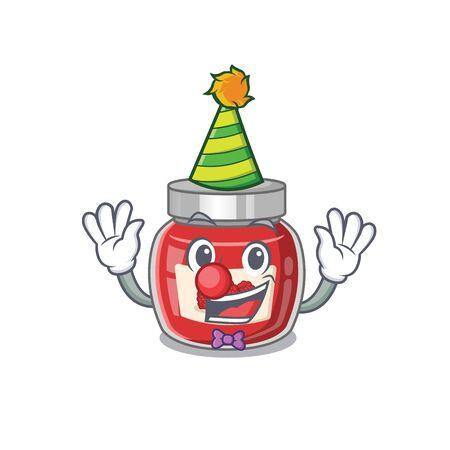 Funny Clown raspberry jam cartoon character mascot design Ilustração