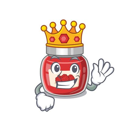 A cartoon mascot design of raspberry jam performed as a King on the stage