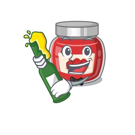 mascot cartoon design of raspberry jam with bottle of beer. Vector illustration Ilustração