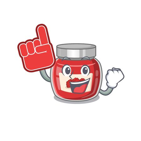 A picture of raspberry jam mascot cartoon design holding a Foam finger. Vector illustration