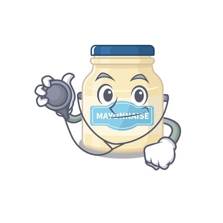 A mascot picture of mayonnaise cartoon as a Doctor with tools