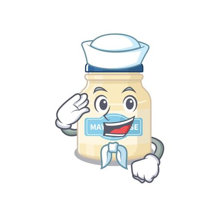 Mayonnaise cartoon in concept Sailor wearing hat