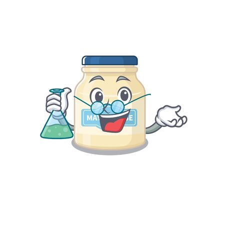 Cool mayonnaise Professor cartoon character with glass tube Stock Illustratie