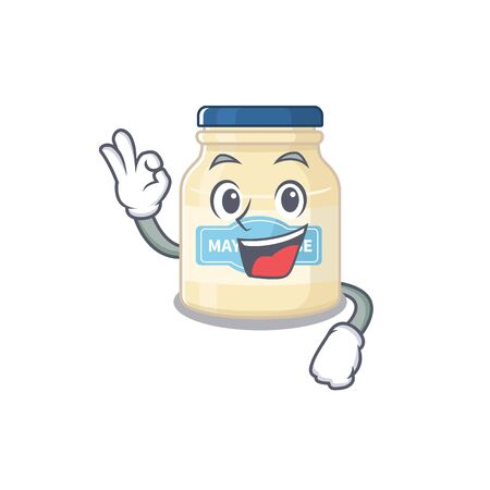 A funny picture of mayonnaise making an Okay gesture