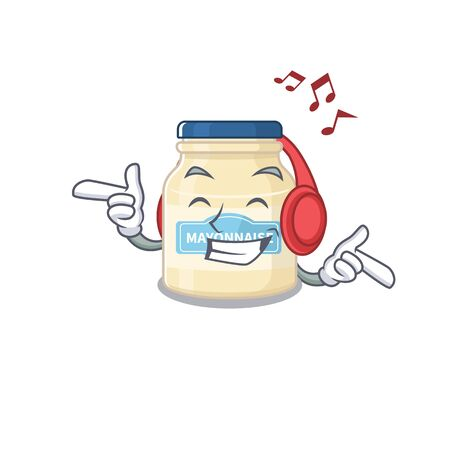 Listening music mayonnaise cartoon in character concept