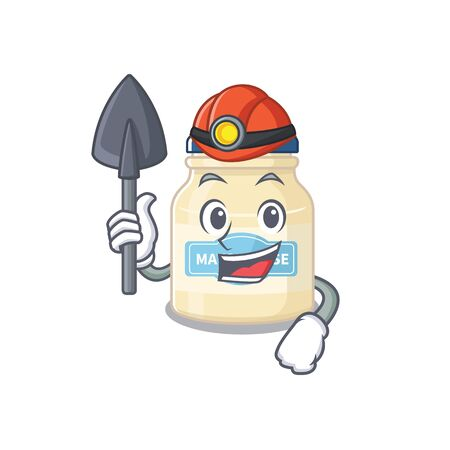 Cool clever Miner mayonnaise cartoon character design