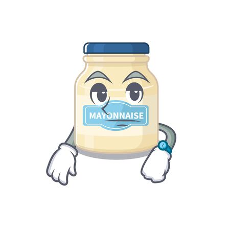 cartoon character design of mayonnaise on a waiting gesture