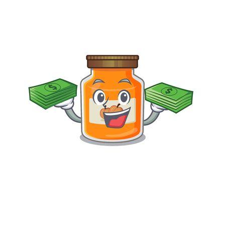cool rich peach jam character having money on hands. Vector illustration Illustration