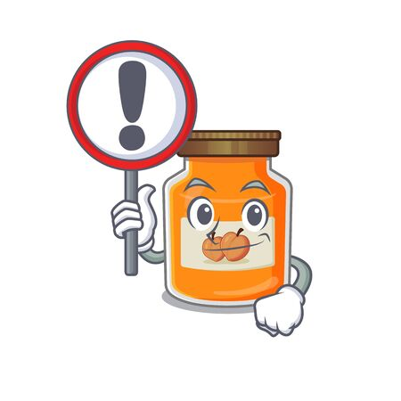cute mascot character style of peach jam raised up a sign. Vector illustration Ilustrace