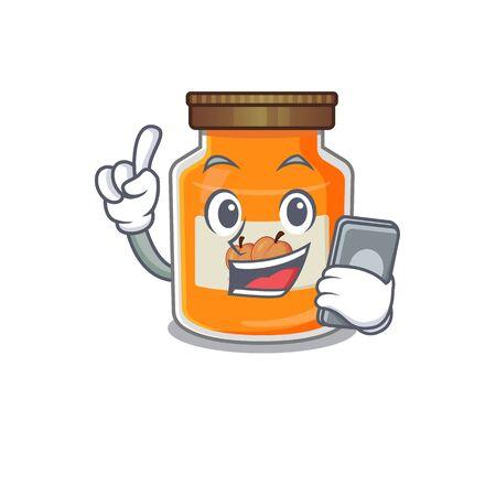 Peach jam Cartoon design style speaking on a phone. Vector illustration