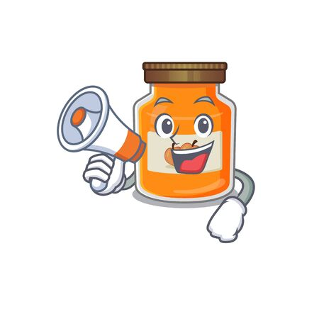 A mascot of peach jam speaking on a megaphone. Vector illustration