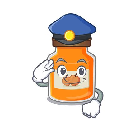 A manly peach jam Cartoon concept working as a Police officer. Vector illustration Ilustrace