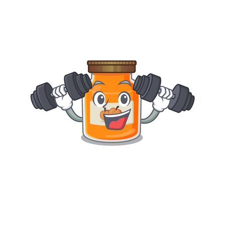 Sporty Fitness exercise peach jam mascot design using barbells. Vector illustration Reklamní fotografie - 140626150