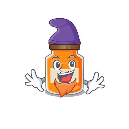 cartoon mascot of funny peach jam dressed as an Elf. Vector illustration