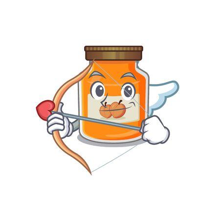 Sweet peach jam Cupid cartoon design with arrow and wings. Vector illustration Ilustrace